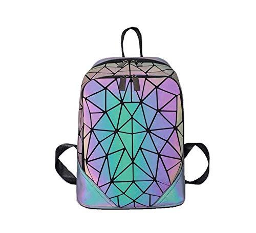 TEAMWIN Geometrische Rucksack Mode Rucksäcke Leuchtende Holographische Tasche Leder Daypacks Pailletten Rucksack Reflektierende Taschen Schule College Rucksack (Leuchtend)