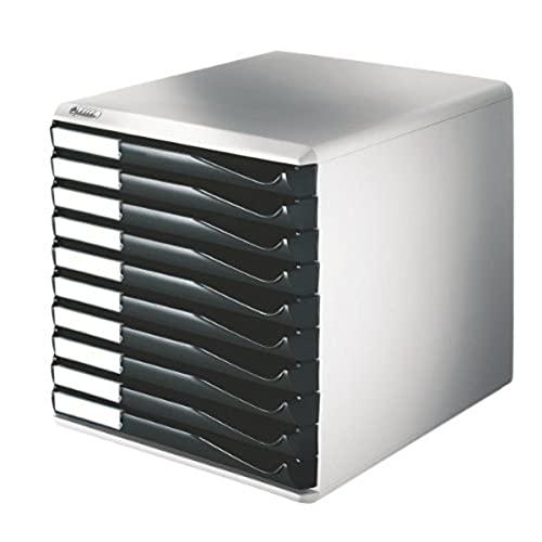 Leitz Buc de cajones, 10 cajones, Negro, Plástico, Form, 52810095