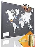 """VACENTURES Magnetische Pinnwand Weltkarte XXL""""DARK"""" inkl. 2 x 15 magnetische Pins I Markiere Deine Reiseziele I Sammel Fotos und Magnete I Magnet Poster DIN A0 - world map"""