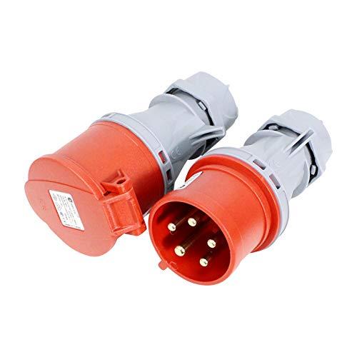 CEE Stecker/Kupplung 32A SET Starkstrom Drehstrom 400V IP44 VDE & CE Zertifiziert