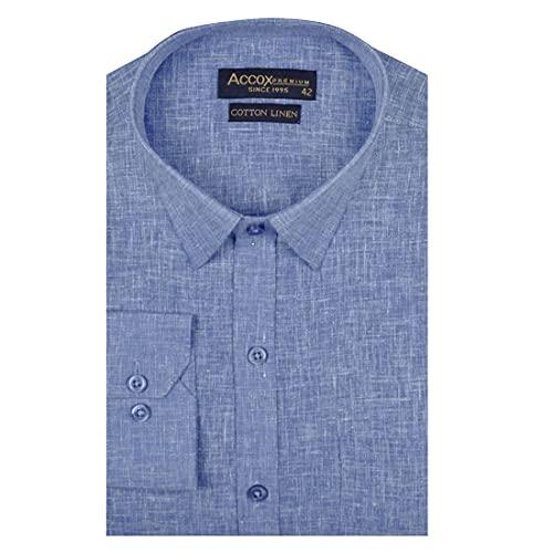 ACCOX Men's Full/Long Sleeves Formal Regular Fit Cotton Linen Plain Shirt (GCRFS28)