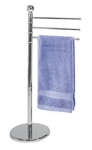 WENKO Handtuchständer Exclusiv, freistehender Ständer mit 3 beweglichen Armen, Kleiderständer aus Metall mit moderner, glänzender Chrom Ummantelung, 28.5 x 90 x 48.5 cm, Verchromt