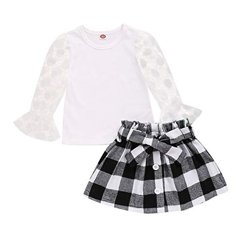 Toddler Baby Girl Mesh Fluffy Dot Ruffle Sleeve T-Shirt Top + Buttons Plaid Skirt Outfits Set (White, 3-4 Y)