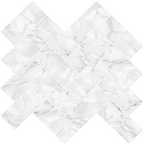 InHome nh2358 Herringbone Carrara Peel y Stick Backsplash baldosas, color blanco/blanco