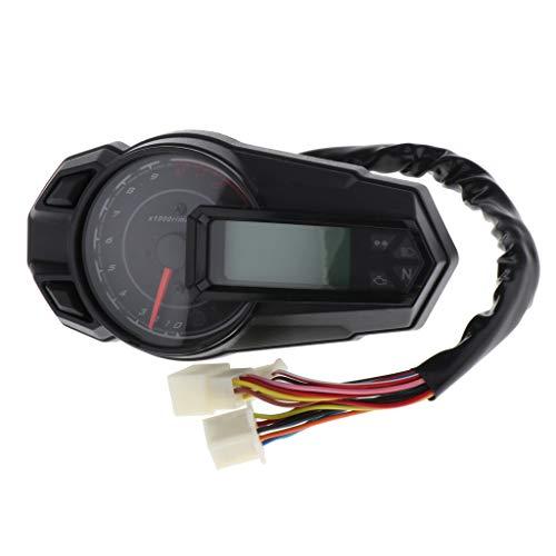 Gazechimp LCD Velocímetro Digital Odómetro Tacómetro de Consumo de Combustible para Moto km/hy