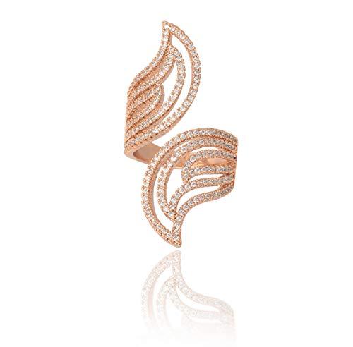 FREESIAOS Anillo de plata de oro rosa con diamante estilo Leve para niñas y mujeres