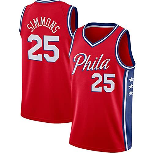 CXJ NBA 76ers # 25 Jerseys Ben Simmons Men's Basketball Jersey - Tela Fresca de la Tela Transpirable Swingman VESTURA UNA Top,A,S(165~170CM/50~65KG)