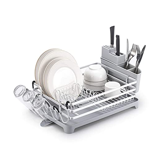 RDJSHOP Escurridor de platos, de aleación de aluminio a prueba de óxido, escurridor de espacio con bandeja de goteo y soporte de utensilios desmontable, para encimera de cocina