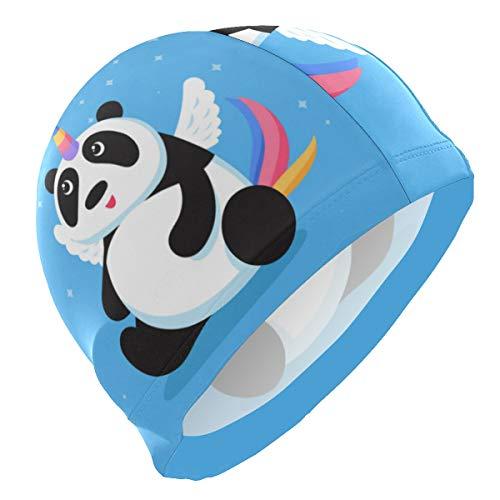 ALINLO Badekappen, witzig, Pandan, Wannabe Einhorn mit Flügeln, Badehaube, wasserdicht, für Erwachsene, Männer, Jugendliche, Jungen