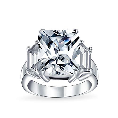 Bling Jewelry Art Deco Argento 925 5CT AAA CZ Rettangolo Taglio Smeraldo Dichiarazione Anello Fidanzamento Baguette Pietre Laterale