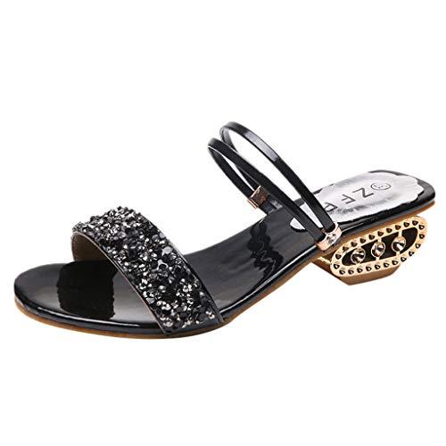 Luckycat Oferta de liquidación! Calzado Chancletas Tacones Mujer Zapatilla de Diamantes de imitación Sexy Sandalias de tacón Alto Zapatos de Fiesta de Cristal Chancletas