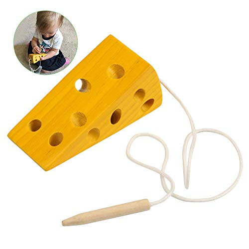 BelleStyle Montessori Activity Wooden Cheese Toy, Niños Niños Aprendizaje Temprano Educativo Bloque de Madera Rompecabezas de Juguete