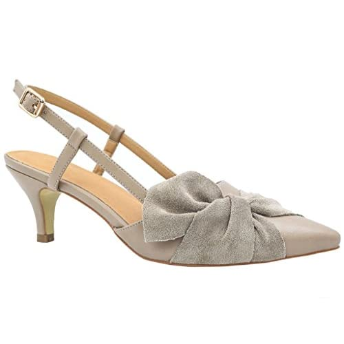 Greatonu Women Shoes Bow Tie Kitten Heels Slingback Dress Pumps Court Shoes