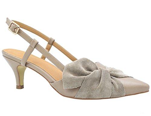 Greatonu Zapatos de Tacón Bajo Beige Estilo Dulce Modo Vestido de Etiqueta para Mujer Tamaño 40 EU