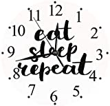 quanjiafu Reloj De Pared Reloj De Pared Silent Eat Sleep Repeat Motivational Quote Brush Typography Lifestyle Artsy Print Reloj De Pared