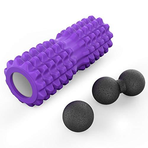 JIMS STORE Foam Roller Rullo Massaggio Muscolare Palle Lisce Rullo Fitness Rullo da Massaggio Rulli in Schiuma Stretching Attrezz 3-1 Set per Yoga Pilates (Viola)
