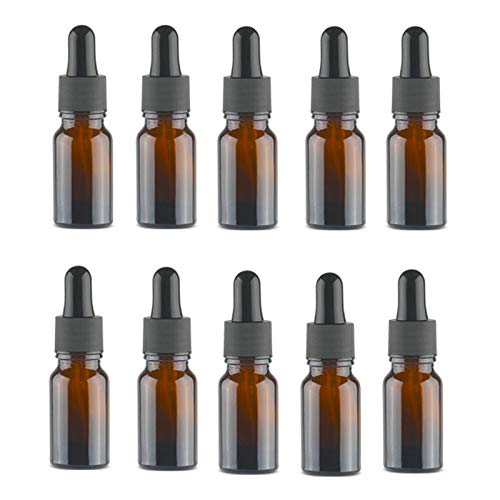 WZCXYX Botella Cuentagotas Vacía Aceite Esencial ámbar Aromaterapia De Vidrio Líquido Marrón 10-100ml Gota para Masaje Frascos De Pipeta Recargables(Size:10ml)