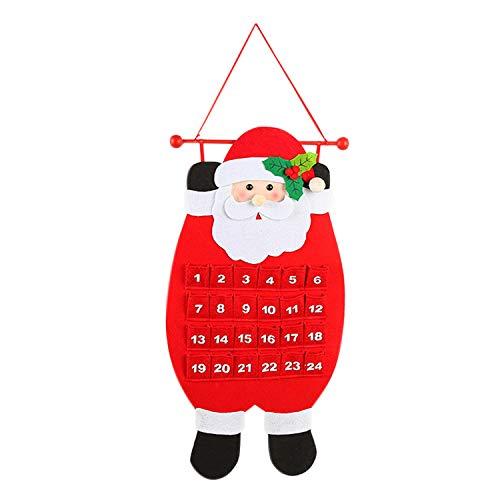 De feuilles Adventskalender zum Aufhängen Befüllen Weihnachtsmann Weihnachtskalender Kinder Erwachsene DIY Geschenke Schneemann Weihnachtsmann Rentier Wand