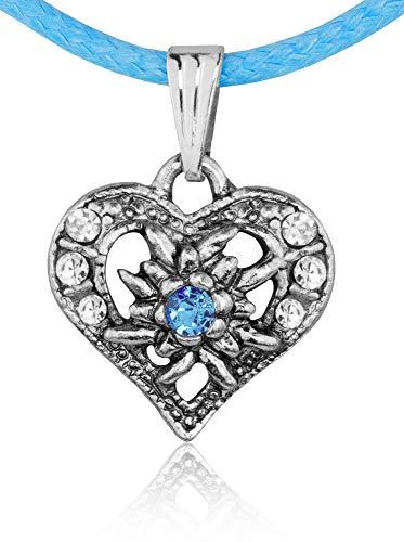 Kinder Trachten Halskette Sira mit Edelweiß Herz - Hellblau - Zauberhafter Schmuck für Mädchen zu Dirndl und Kleidern