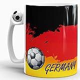 Deutschland-Tasse passend zur WM oder EM mit Fussball - Fussball-Tasse/Länderfarbe/Weltmeisterschaft/Flagge/Fahne/Cup/Mug/Qualität Made in Germany