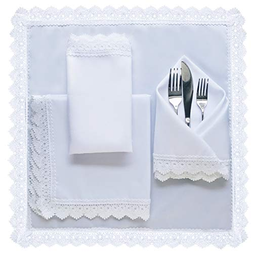 ELOMELO Cloth Dinner Napkins Venice Lace Bread Warmer Basket Liners Table Square Placemats Wedding Linens Machine Washable Polyester 17 x 17 inches Set of 4 Made in USA (White)