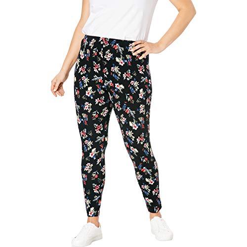 Woman Within Women's Plus Size Petite Stretch Cotton Printed Legging - L, Black Mixed Bouquet