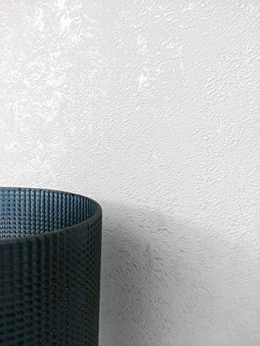 NEWROOM Tapete Weiß Vliestapete Glänzend - Betontapete Uni Beton Putz Industrial Modern Betonoptik Putzoptik Struktur inkl. Tapezier-Ratgeber