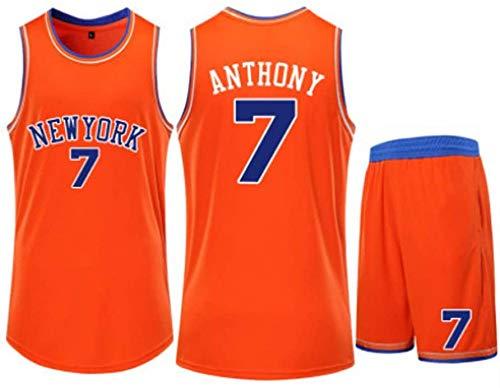 # 7 Set di Maglie da Basket per Uomo Carmelo Anthony New York Knicks - Pantaloncini da Allenamento Tesori di Fascia Alta Abiti Senza Maniche Donne Studenti Asciugatura Rapida,Orange-L