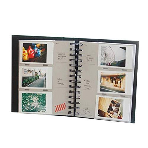 Vosarea 1 Libro Álbum de Fotos de 3 Pulgadas Bobina de Cuero Vertical Insertar álbum de Fotos Boletos de Tren Libro de Almacenamiento para decoración de Fotos (20 páginas / 160 Hojas, Negro)