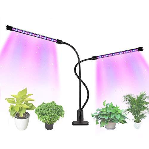 GEVOERDE installatie groeilicht, 2 koppen 20 W 5 lichtdichte modi 3 timer totale spectrum plant groei lamp met UV-IR indoor licht voor planten groente bloemen zaailing