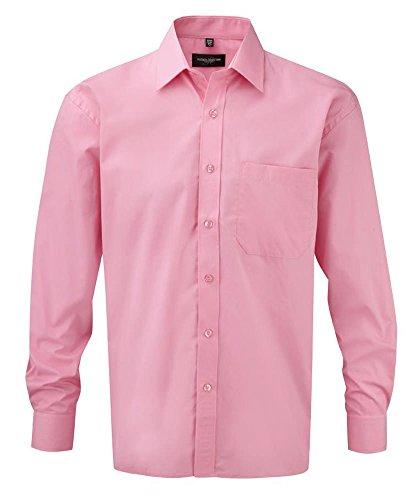 Collection Russell - Chemise à manches longues en popeline - 100 % coton - Facile à entretenir - Bleu - X-Large