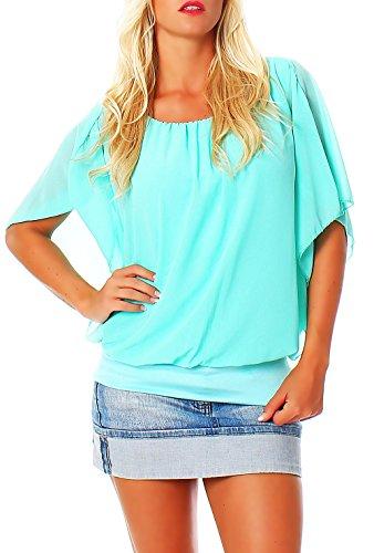 Damen Bluse im Fledermaus Look | Tunika mit Rundhals und breitem Bund | Blusenshirt Kurzarm | Elegant - Shirt 6296 (türkis)