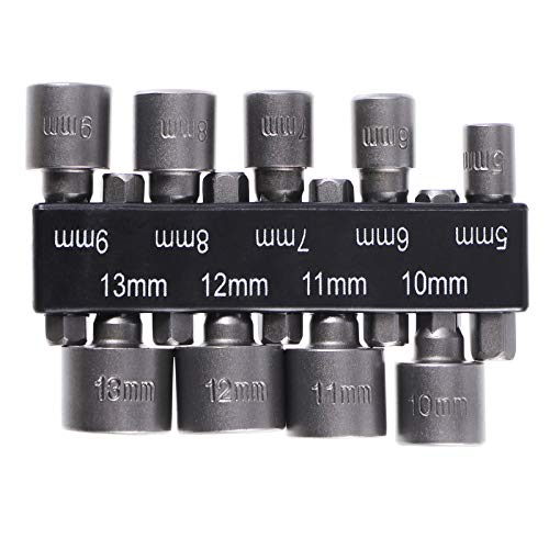 OUNONA 9PCS 5-13mm Imperial Socket Nut Impact Driver Adapter Drill Bits 1/4 Inch Hex Shank Tool Set Nut Driver Socket Bit Set