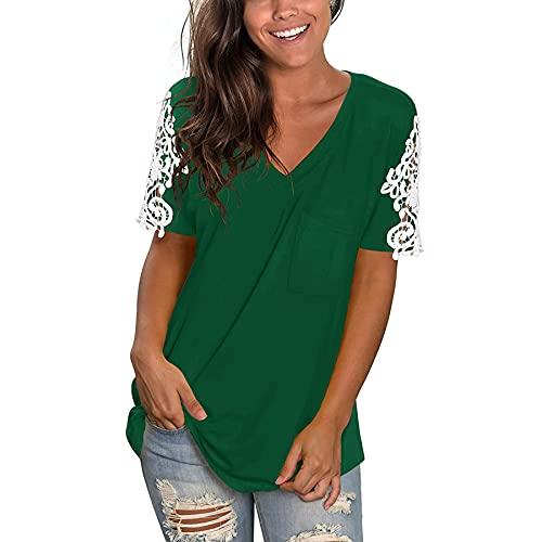 WXDSNH Camiseta Hueca con Costura De Encaje De Manga Corta para Mujer Tops Casuales De Verano Color Sólido Suelto