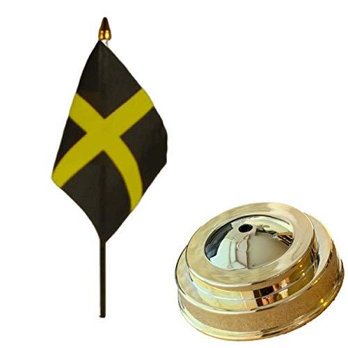 Flagmania Bandera de mesa de escritorio con base plana de plástico dorado de 15 x 10 cm