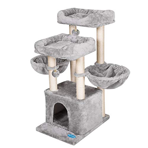 Heybrother 378 inches MediumSize Cat Tree for 3 Cats Use with Luxury Condo Cat Tower with 2 Padded Plush Perches and 2 Cozy Baskets Light Gray MPJ006W