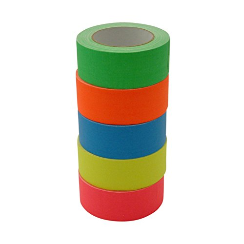 JVCC Gaff-Color-Pack Gaffers Tape Multi-Pack: 2 in. x 75 ft. / Assortis (bleu fluorescent, fl. Vert, fl. Orange, fl. Rose, fl. Jaune)