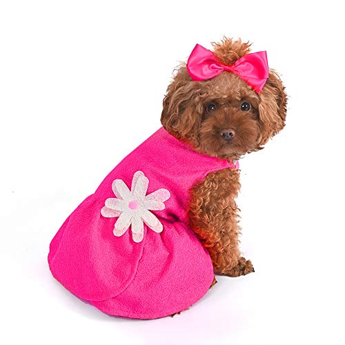 CuteBone Valentine's Day Dog Dress with Harness D-Ring for Small Dogs Wedding Cat Clothes Girl Puppy Outfit Pink Shirt Flower Costume with Bow Hair Rope Birthday Gift