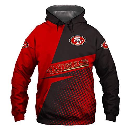 Hombres Sudaderas - Casual con Capucha De Fútbol Americano 49ers 3D Camiseta del Logotipo Sudadera Pulóver Equipo