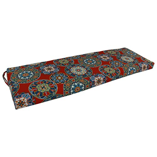 Blazing Needles Patterned Outdoor Spun Polyester Bench Cushion, 60' Wide, Cera Pompeii