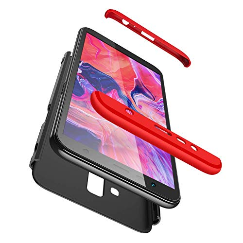 Capa Capinha Anti Impacto 360 Para Samsung Galaxy J6 Plus J6+ J610 2018 Tela 6.0 Polegadas Case Acrílica Fosca Acabamento Macio - Danet (Preto com vermelho)