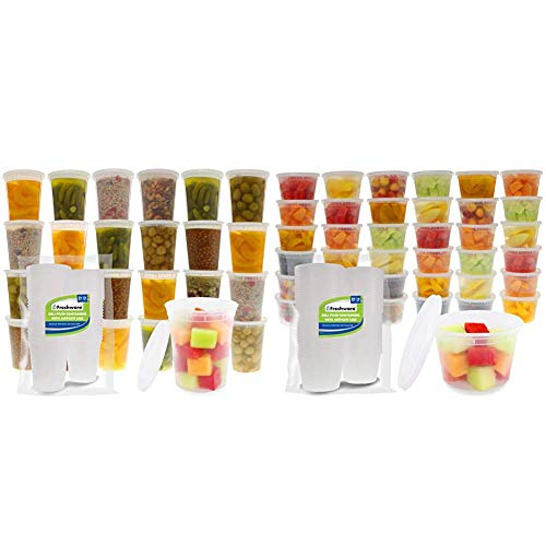 Freshware Food Storage Containers with Lids [24 Pack, 32oz] & Deli, Food Storage containers, 16 ounce, 16 oz. 50-Pack