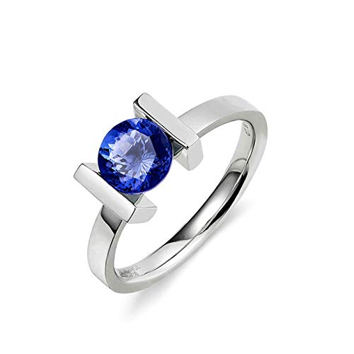AmDxD White Gold Ring for Women 18K, Round Tanzanite 1.52CT Promise Ring Band for Her Size I 1/2, Birthday for Women Mom Wife with Gift Box