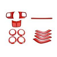 Wishful 車のステアリングホイールトリムエアコンベントカバーインテリアデコレーションアクセサリーステッカースタイリングフィットジープラングラー2011 + (Color Name : Red)