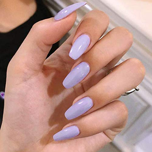 Adflyco Glossy Coffin Press on Nails Purple Long Fake Nails Acrylic Full Cover False Nails for Women and Girls (24Pcs)