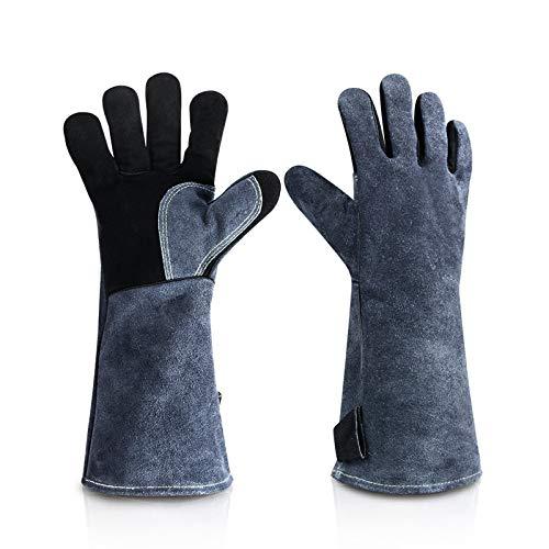 Homeatk Kaminhandschuh Leder, Feuerfest Handschuhe 500°C Grillhandschuhe Hitzebeständig Kaminhandschuhe, Profi Dick BBQ KaminofenHandschuhe Ofenhandschuhe,Gray Black