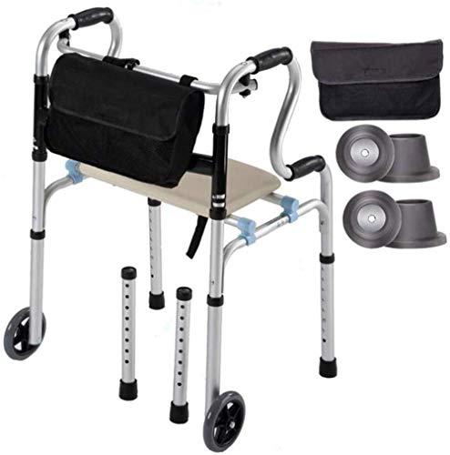Walker Assist Opvouwbare rollator met zitting en opbergtas, instelbare hoogte, anti-slip mobiliteit, lichtgewicht rollator opvouwbaar