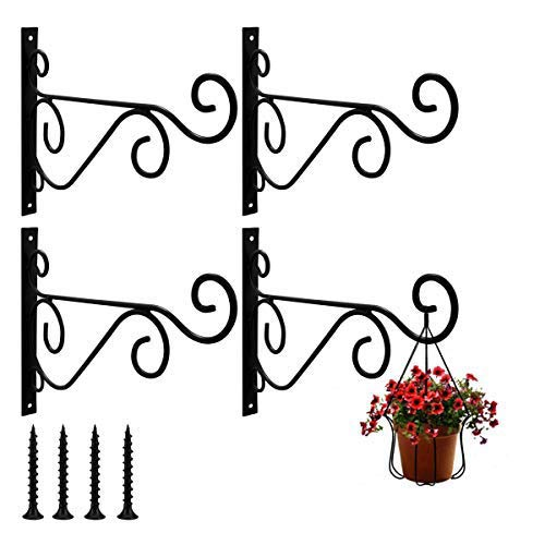 T6 Pack of 4 Wall Hanging Brackets Hooks with Screws for Garden Basket Lantern Lawn Light Flower Pots Plant Hanger Gardening Decoration 25x20CM (Black)