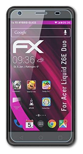atFolix Glasfolie kompatibel mit Acer Liquid Z6E Duo Panzerfolie, 9H Hybrid-Glass FX Schutzpanzer Folie
