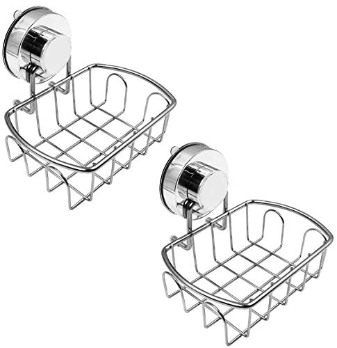 Top-spring Soap Dish Holder, Stainless Steel Soap Basket with Strong Vacuum Suction Cup Soap Saver for Bathroom Shower Kitchen Sinks (Upgrade Soap Dish 2pc)